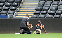 Swansea City's Joel Asoro receives treatment during the Swansea City Training at The Liberty Stadium, Swansea, Wales, UK. Tuesday 07 August 2018