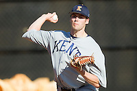 Kent State Golden Flashes starting pitcher Tyler Skulina (31) warms up in the bullpen prior to the game against the Charlotte 49ers at Robert and Mariam Hayes Stadium on March 8, 2013 in Charlotte, North Carolina.  The 49ers defeated the Golden Flashes 5-4.  (Brian Westerholt/Four Seam Images)