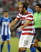 Landon Donovan #10 of the USMNT reacts during the game against Honduras on July 24, 2013 at Dallas Cowboys Stadium in Arlington, TX. USMNT won 3-1.