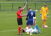 Jude Soonsup-Bell of Chelsea is shown a yellow card during Chelsea Under-19 vs FC Zenit Under-19, UEFA Youth League Football at Cobham Training Ground on 14th September 2021