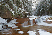 The Pemigewasset River near the Flume Visitor Center in Franconia Notch State Park in Lincoln, New Hampshire during the winter season.