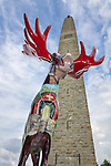 Artist-decorated moose sculpture at the Bennington Monument in Bennington, Vermont, USA
