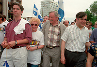 June 24, 1994  File Photo <br /> Andre Boisclair, Jacques Parizeau and Lucien Bouchard take part in the<br /> Quebec national Holiday (Saint-Jean-Baptiste)