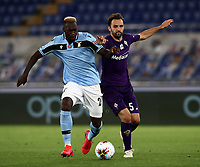 Football, Serie A: S.S. Lazio - Fiorentina, Olympic stadium, Rome, June 27, 2020. <br /> Lazio's Felipe Caicedo (l) in action with Fiorentina's Milan Badelj (r) during the Italian Serie A football match between S.S. Lazio and Fiorentina at Rome's Olympic stadium, Rome, on June 27, 2020. <br /> UPDATE IMAGES PRESS/Isabella Bonotto