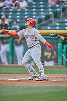 Luke Voit (26) of the Memphis Redbirds bats against the Salt Lake Bees at Smith's Ballpark on July 24, 2018 in Salt Lake City, Utah. Memphis defeated Salt Lake 14-4. (Stephen Smith/Four Seam Images)