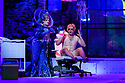 """EMBARGOED UNTIL 23:00 FRIDAY 18 OCTOBER 2019: London, UK. 16.10.2019.  English National Opera presents """"The Mask of Orpheus"""", by Sir Harrison Birthwhistle, libretto by Peter Zinovieff, at the London Coliseum, in its first London restaging in the 30 years since its premiere, coinciding with the celebration of Sir Harrison's 85th birthday. Directed by Daniel Kramer, with lighting design by Peter Mumford, set design by Lizzie Clachan and costume design by Daniel Lismore. Picture shows: Claire Barnett-Jones (Eurydice the Myth), Daniel Norman (Orpheus the Myth). Photograph © Jane Hobson."""