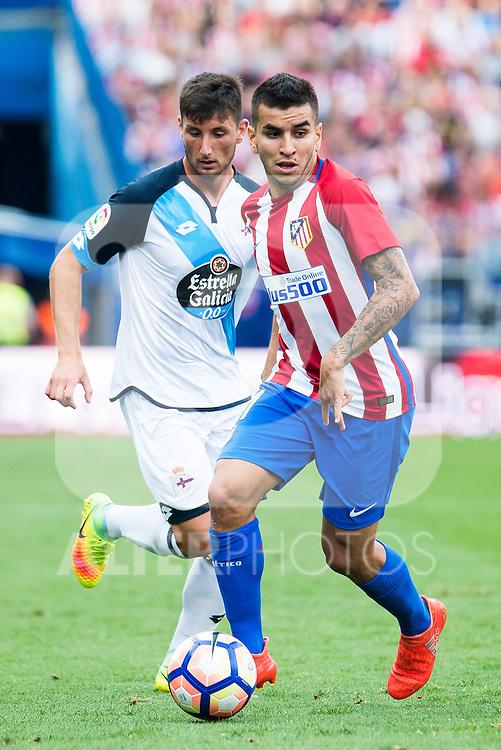 Atletico de Madrid's player Ángel Martín Correa and Deportivo de la Coruña's player Borja Valle during a match of La Liga Santander at Vicente Calderon Stadium in Madrid. September 25, Spain. 2016. (ALTERPHOTOS/BorjaB.Hojas)