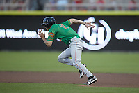 Evan Carter (11) of the Down East Wood Ducks takes off for second base against the Kannapolis Cannon Ballers at Atrium Health Ballpark on May 5, 2021 in Kannapolis, North Carolina. (Brian Westerholt/Four Seam Images)