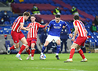 16th March 2021; Cardiff City Stadium, Cardiff, Glamorgan, Wales; English Football League Championship Football, Cardiff City versus Stoke City; Kieffer Moore of Cardiff City is challenged by the Stoke City defence