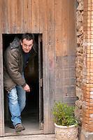 Roland Coustal Domaine Terres Georges. In Castelnau d'Aude. Minervois. Languedoc. A door. Owner winemaker. France. Europe.
