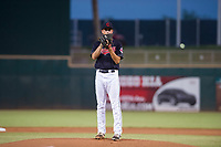 AZL Indians starting pitcher Dante Mendoza (62) looks to his catcher for the sign against the AZL Padres on August 30, 2017 at Goodyear Ball Park in Goodyear, Arizona. AZL Padres defeated the AZL Indians 7-6. (Zachary Lucy/Four Seam Images)