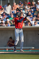 Nick Schnell (7) of the Charleston RiverDogs at bat against the Kannapolis Cannon Ballers at Atrium Health Ballpark on July 4, 2021 in Kannapolis, North Carolina. (Brian Westerholt/Four Seam Images)
