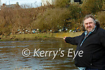Rubbish in Listowel : Edward Tanker Walsh pointing to the rubbish along the bank of the River Feale in Listowel