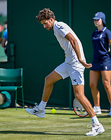 London, England, 3 th. July, 2018, Tennis,  Wimbledon, Robin Haase (NED) hits a tweener<br /> Photo: Henk Koster/tennisimages.com