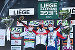 Tadej Pogacar (SLO) UAE Team Emirates wins with World Champion Julian Alaphilippe (FRA) Deceuninck-QuickStep in 2nd place and David Gaudu (FRA) Groupama-FDJ 3rd on the podium at the end of the 107th edition of Liege-Bastogne-Liege 2021, running 259.1km from Liege to Liege, Belgium. 25th April 2021.  <br /> Picture: A.S.O./Aurelien Vialatte | Cyclefile<br /> <br /> All photos usage must carry mandatory copyright credit (© Cyclefile | A.S.O./Aurelien Vialatte)