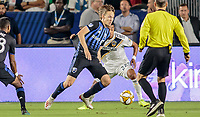 CARSON, CA - SEPTEMBER 21: Lassi Lappalainen #21 of the Montreal Impact moves with the ball during a game between Montreal Impact and Los Angeles Galaxy at Dignity Health Sports Park on September 21, 2019 in Carson, California.
