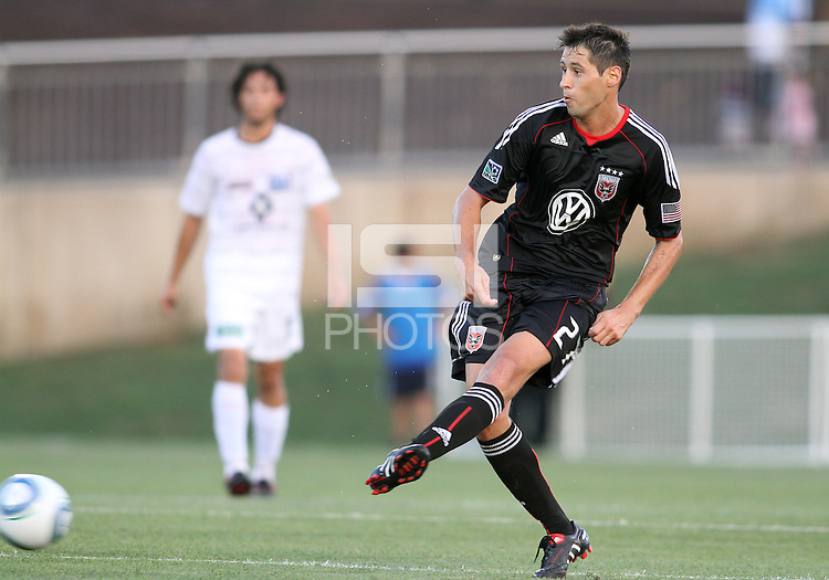 Branko Boskovic #27 of D.C. United makes a pass during a US Open Cup match against the Harrisburg City Islanders at the Maryland Soccerplex on July 21 2010, in Boyds, Maryland. United won 2-0.