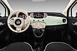 Stock photo of straight dashboard view of 2016 Fiat 500 Lounge 3 Door Hatchback Dashboard