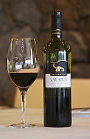 Bottle and glass of Saurus Patagonia Pinot Noir Bodega Familia Schroeder Winery, also called Saurus, Neuquen, Patagonia, Argentina, South America