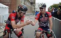 the Tyler&Taylor post-race fist-bump<br /> <br /> Taylor Phinney (USA/BMC) & Tyler Farrar (USA/MTN-Qhubeka) <br /> <br /> Elite Men Road Race<br /> UCI Road World Championships Richmond 2015 / USA