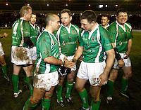 Photo: Richard Lane/Richard Lane Photography. England Legends v Ireland Legends. The Stuart Mangan Memorial Cup. 26/02/2010. Ireland celebrate victory.