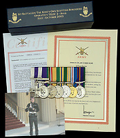 BNPS.co.uk (01202 558833)<br /> Pic: DNW/BNPS<br /> <br /> Pictured: Corporal Tony Currie's medals<br /> <br /> A hero Iraq War veteran who led a full-frontal assault against 20 enemy gunmen has sold his bravery medals for £15,000.<br /> <br /> Corporal Tony Currie was part of a small force which came under heavy machine gun fire near the Al Uzayr security base in the Maysan Province in 2003. They were shot at from five different positions as they advanced through narrow streets.<br /> <br /> During the assault, an Iraqi gunman appeared suddenly in front of the British to stall the attack.