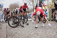 Stefan Küng (SUI/Groupama - FDJ) crashes up the Oude Kwaremont<br /> <br /> 105th Ronde van Vlaanderen 2021 (MEN1.UWT)<br /> <br /> 1 day race from Antwerp to Oudenaarde (BEL/264km) <br /> <br /> ©kramon