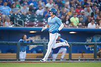 Omaha Storm Chasers Bobby Witt Jr. (7) runs toward home plate during a game against the Iowa Cubs on August 14, 2021 at Werner Park in Omaha, Nebraska. (Zachary Lucy/Four Seam Images)