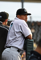 Jupiter Hammerheads second baseman Rafael Furcal (7), on rehab assignment from the Miami Marlins, in the dugout during a game against the Bradenton Marauders on April 17, 2014 at McKechnie Field in Bradenton, Florida.  Bradenton defeated Jupiter 2-1.  (Mike Janes/Four Seam Images)