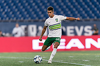 FOXBOROUGH, MA - AUGUST 26: Noah Pilato #20 of Greenville Triumph SC passes the ball during a game between Greenville Triumph SC and New England Revolution II at Gillette Stadium on August 26, 2020 in Foxborough, Massachusetts.