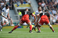 Luke Cowan-Dickie of Exeter Chiefs is stopped in his tracks by George Kruis and Billy Vunipola of Saracens during the Aviva Premiership Rugby Final between Saracens and Exeter Chiefs at Twickenham Stadium on Saturday 28th May 2016 (Photo: Rob Munro/Stewart Communications)