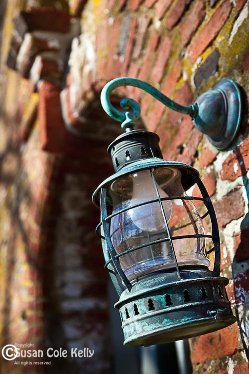 Antique lantern at the farmhouse at the Spencer-Peirce-Little Farm, Newbury, Essex National Heritage Area, Newburyport, Massachusetts, USA