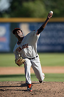 San Jose Giants relief pitcher Sandro Cabrera (18) delivers a pitch to the plate during a California League game against the Modesto Nuts at John Thurman Field on May 9, 2018 in Modesto, California. San Jose defeated Modesto 9-5. (Zachary Lucy/Four Seam Images)