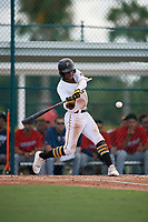 GCL Pirates Norkis Marcos (3) bats during a Gulf Coast League game against the GCL Twins on August 6, 2019 at Pirate City in Bradenton, Florida.  GCL Twins defeated the GCL Pirates 1-0 in the second game of a doubleheader.  (Mike Janes/Four Seam Images)
