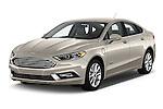 2017 Ford Fusion Energi Plug-In Hybrid SE Luxury 4 Door Sedan Angular Front stock photos of front three quarter view