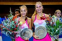 Alphen aan den Rijn, Netherlands, December 21, 2019, TV Nieuwe Sloot,  NK Tennis, Final woman's doubles: winners Sem Wensveen (NED) and  Dominique Karregat (NED) (L) with the trophy<br /> Photo: www.tennisimages.com/Henk Koster