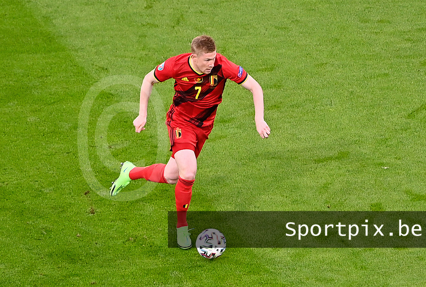 Belgian midfielder Kevin De Bruyne (7) pictured during a soccer game during the quarter final Euro 2020 European Championship between the Belgian national soccer team Red Devils and Italy , called the Azzurri , on friday 2 nd of July 2021  in the Allianz Arena in Munchen , Germany . PHOTO SPORTPIX | SPP | DAVID CATRY