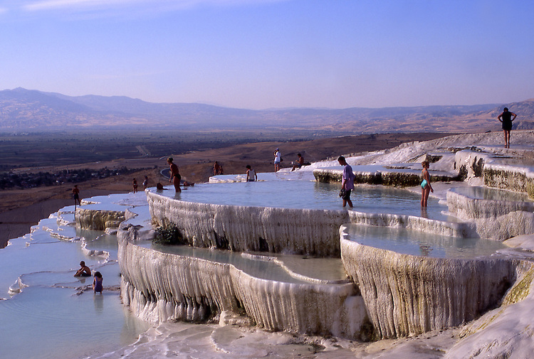 Asia, TUR, Turkey, Aegean, Pamukalle, Hot springs, Limestone terrace, Typical View.