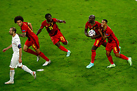 Romelu Lukaku of Belgium celebrates with team mates after scoring on penalty the goal of 1-2 for his side during the Uefa Euro 2020 round of 8 football match between Belgium and Italy at football arena in Munich (Germany), July 2nd, 2021. Photo Matteo Ciambelli / Insidefoto