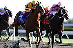 Wise Dan with Rafael Bejarano (yellow cap) outruns Hollywood Hit and James McAleney (pink cap) to win The Phoenix (grIII) at Keeneland Race Course. 10.08.2010