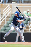 Vince Fernandez (8) of the Asheville Tourists at bat against the Kannapolis Intimidators at Kannapolis Intimidators Stadium on May 7, 2017 in Kannapolis, North Carolina.  The Tourists defeated the Intimidators 4-1.  (Brian Westerholt/Four Seam Images)