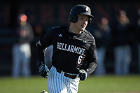 Matt Higgins (6) of the Bellarmine Knights hustles down the first base line against the North Greenville Crusaders at Ashmore Park on February 7, 2020 in Tigerville, South Carolina. The Crusaders defeated the Knights 10-2. (Brian Westerholt/Four Seam Images)
