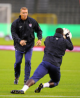 Chris Woods (l), coach of the goalkeeper of team USA, at the warm up during the friendly match Belgium against USA at King Baudoin stadium in Brussel, Belgium on September 06th, 2011.
