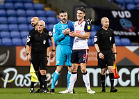 Bolton Wanderers'  goalkeeper/coachMatthew Gilks celebrates with team mate Ryan Delaney at the end of the match<br /> <br /> Photographer Andrew Kearns/CameraSport<br /> <br /> The EFL Sky Bet League Two - Bolton Wanderers v Salford City - Friday 13th November 2020 - University of Bolton Stadium - Bolton<br /> <br /> World Copyright © 2020 CameraSport. All rights reserved. 43 Linden Ave. Countesthorpe. Leicester. England. LE8 5PG - Tel: +44 (0) 116 277 4147 - admin@camerasport.com - www.camerasport.com
