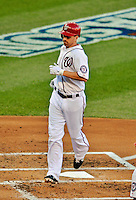 11 October 2012: Washington Nationals first baseman Adam LaRoche comes in to score on a solo home run in the second inning of Postseason Playoff Game 4 of the National League Divisional Series against the St. Louis Cardinals at Nationals Park in Washington, DC. The Nationals defeated the Cardinals 2-1 on a 9th inning, walk-off solo home run by Jayson Werth, tying the Series at 2 games apiece. Mandatory Credit: Ed Wolfstein Photo