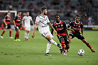 10th February 2021; Bankwest Stadium, Parramatta, New South Wales, Australia; A League Football, Western Sydney Wanderers versus Melbourne Victory; Jake Brimmer of Melbourne Victory plays the ball back to his keeper for safety
