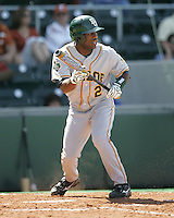 Baylor CF Paul Miles prepares to bunt against Texas on Saturday May 3rd, 2008. Photo by Andrew Woolley / Four Seam Images.