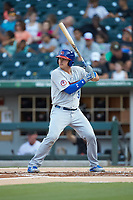 Reese McGuire (3) of the Buffalo Bison at bat against the Charlotte Knights at BB&T BallPark on August 14, 2018 in Charlotte, North Carolina. The Bison defeated the Knights 14-5.  (Brian Westerholt/Four Seam Images)
