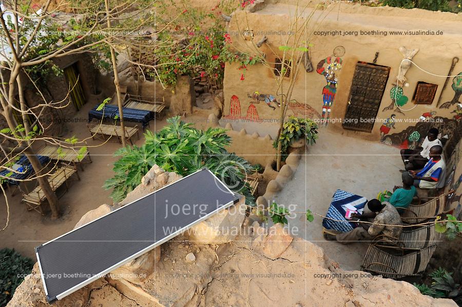 MALI, Bandiagara , hostel with solar panel in Dogon village