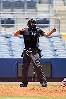 Umpire Chad Westlake calls strike three during a game between the FCL Twins and FCL Rays on July 20, 2021 at Charlotte Sports Park in Port Charlotte, Florida.  (Mike Janes/Four Seam Images)